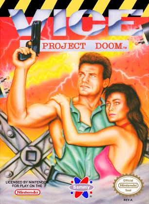 Capa lançada nos EUA do jogo Vice: Project Doom (NES)