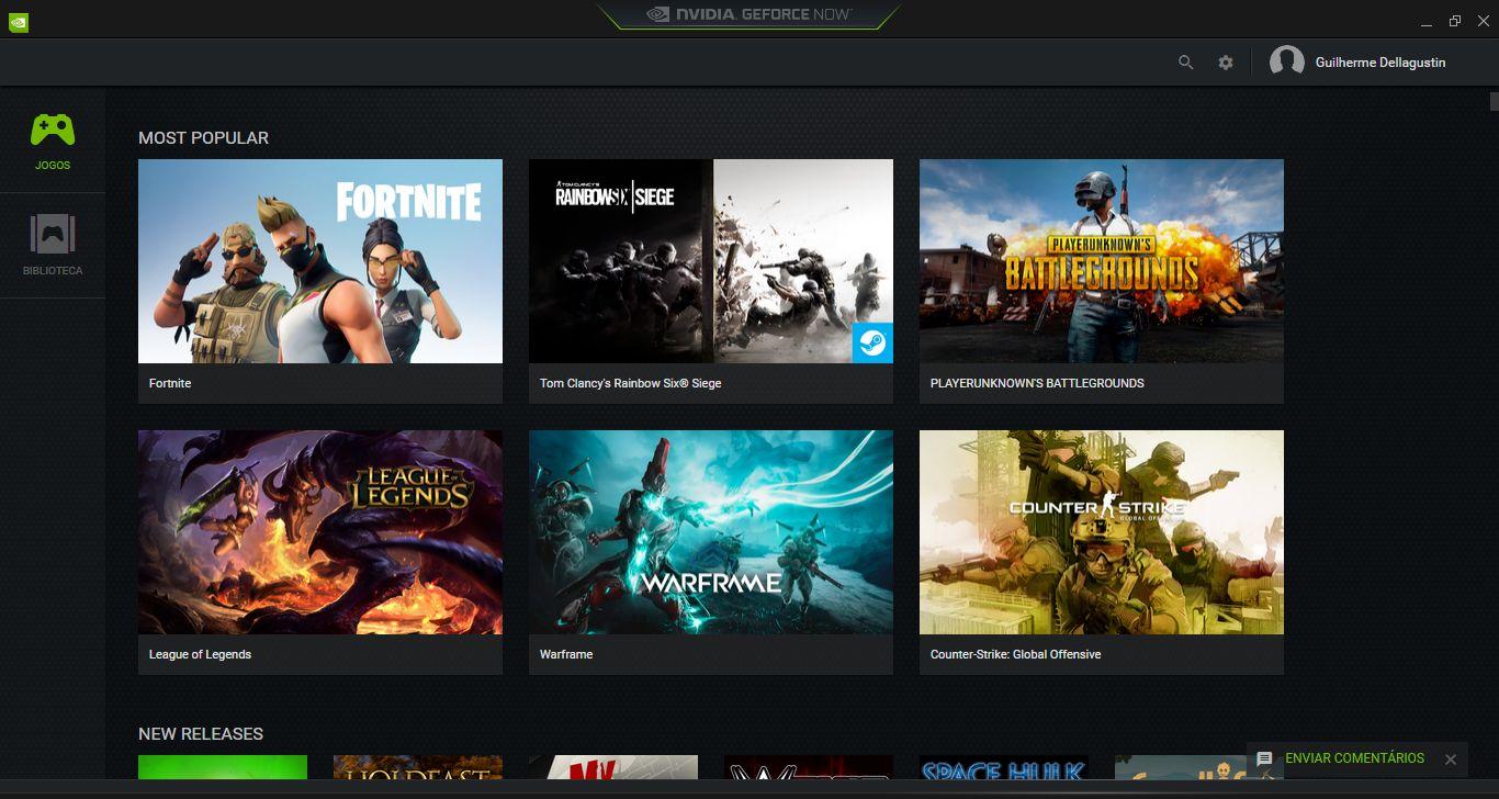 Tela inicial do aplicativo do GeForce Now no PC, serviço de Streaming de Jogos da Nvidia