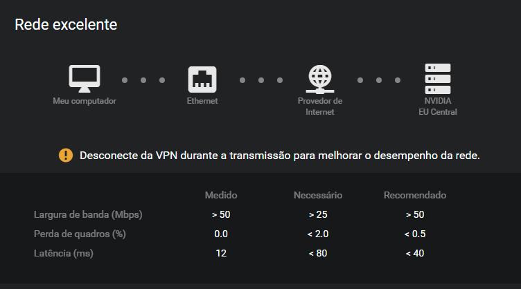 Teste de rede usando GeForce Now no PC, serviço de streaming de Jogos da Nvidia