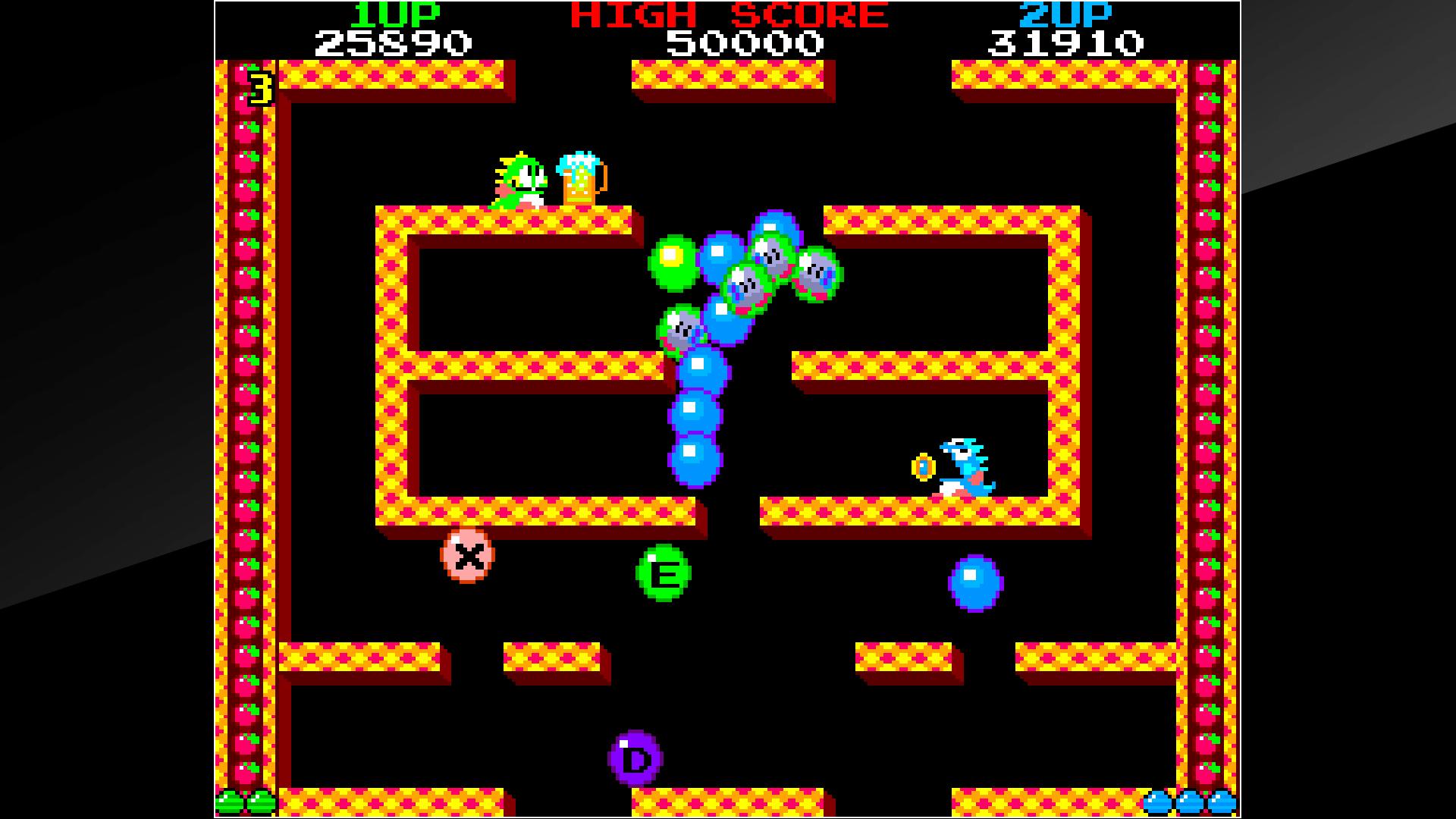Puzze-Bobble: Bust-a-move tem uma jogabilidade diferente do jogo inspiração Bubble Bobble.