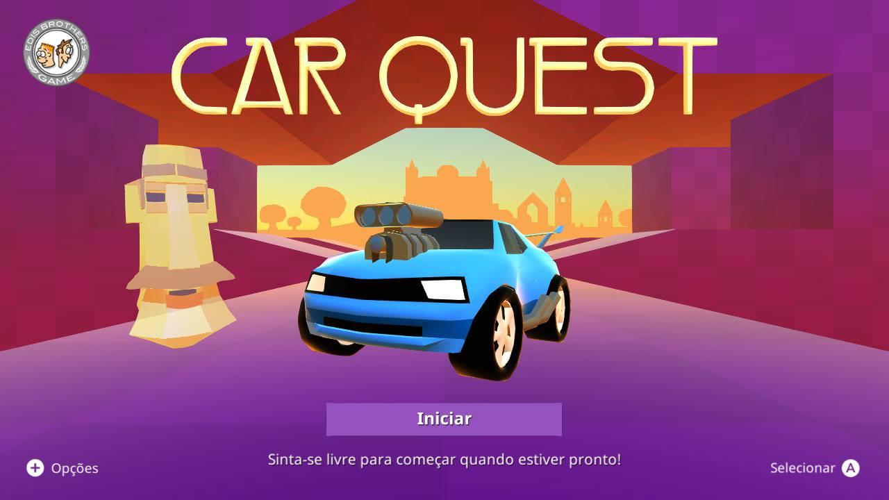 Tela inicial do Car Quest - O jogo de plataforma de carrinho do Nintendo Switch